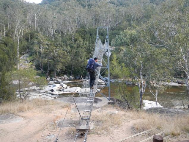 Baz - Crossing Swing Bridge on the Six Foot Track
