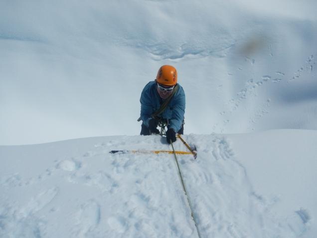 Baz - Fox Glacier, practising crevasse rescues
