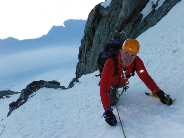 Climbing the south face of Aurora, Southern Alps, New Zealand
