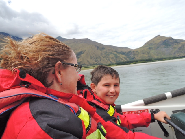 Jet-boating with Janet & TomO, New Zealand