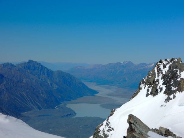 Tasman Glacier viewed from Graham Saddle, Souther Alps, New Zealand
