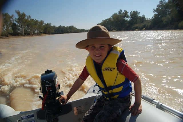 TomO takes control on the Cooper Creek, Outback Australia