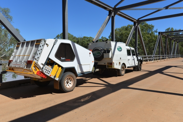 """The Landy"" crossing the Darling River into the Australian Outback"