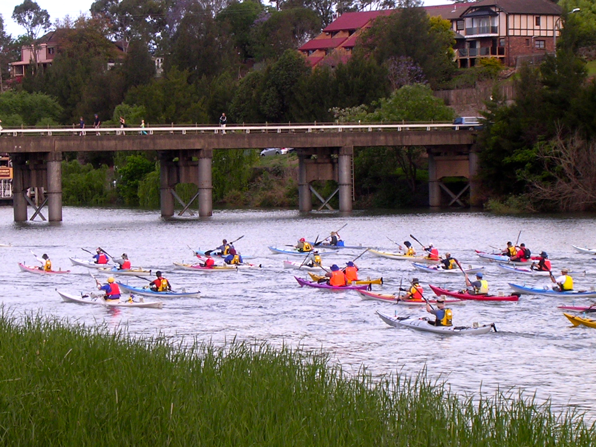Baz leads the field out in the Bridge to Bridge - 111 kilometre Hawkesbury Classic Kayak Race