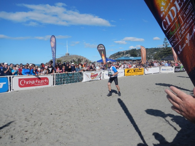 Ray crosses the line after racing 243 kilometres across New Zealand (Baz is coming!)