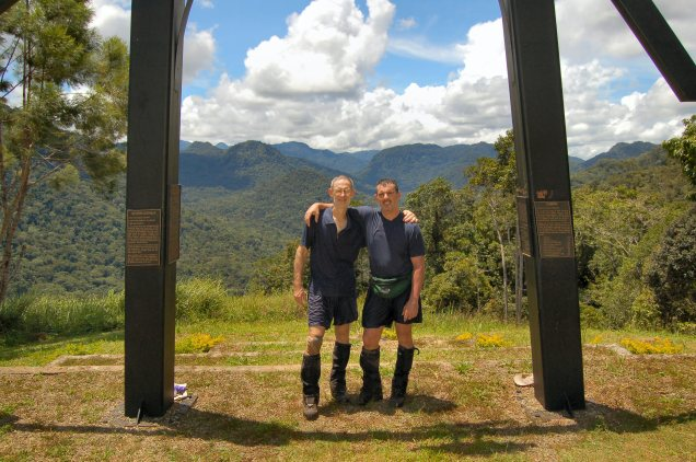 An enduring Australian quaility - Mateship. Bob and Baz, the Kokoda Track trails into the distance behind us