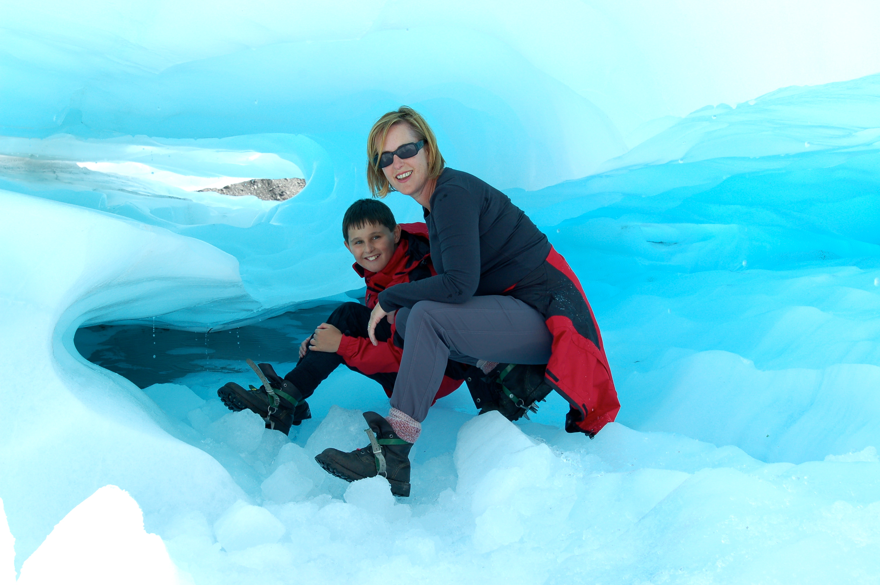 Janet and TomO on Fox Glacier, New Zealand
