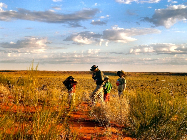 Mates hanging out in the outback - with fly nets