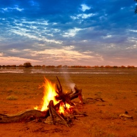 Outback Australia - Sunset, a warm fire, a view, and a swag...